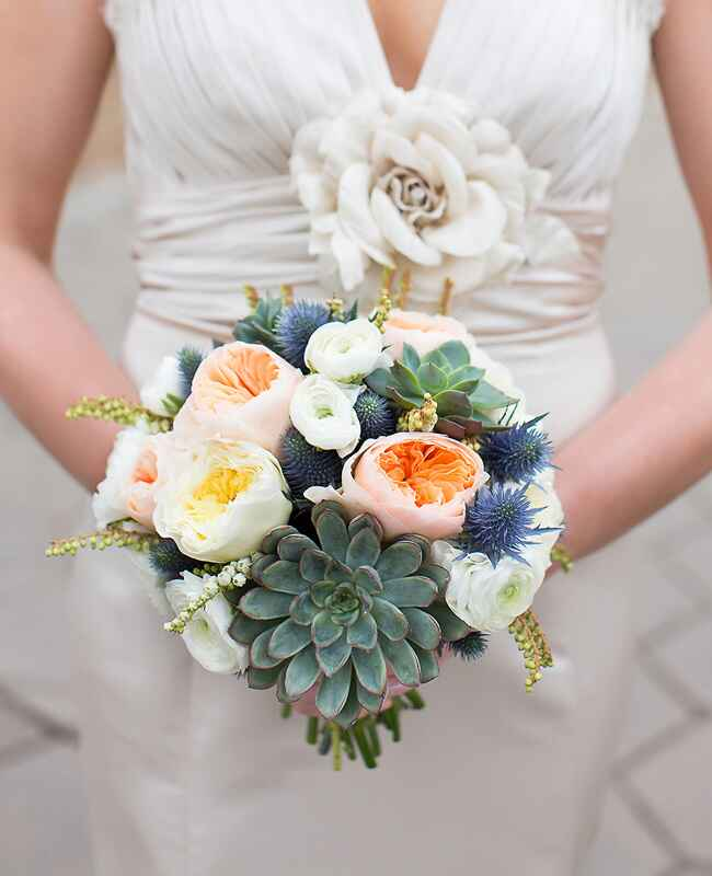 Thistle and Succulent Bridal Bouquet |<img class=