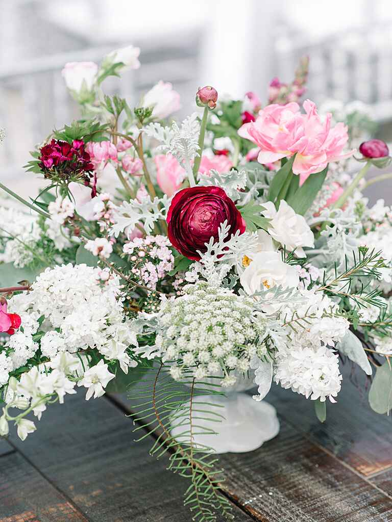 Romantic pedestalled centerpiece idea