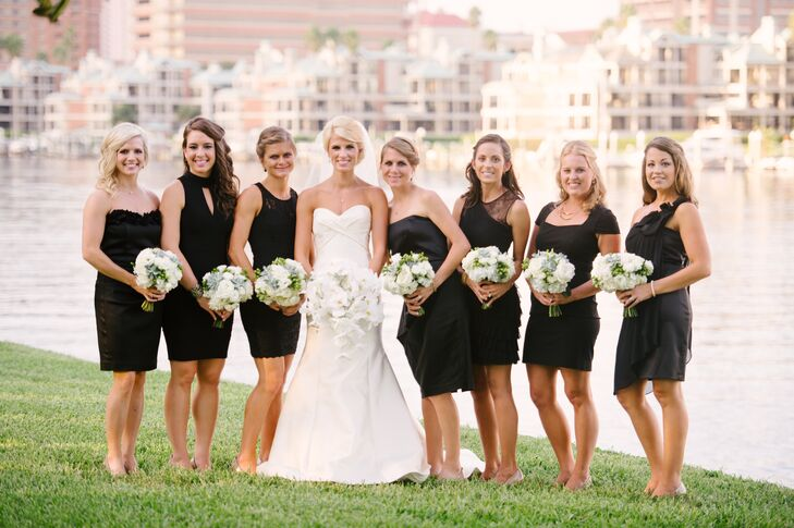 Different Style Black Cocktail-Length Bridesmaid Dresses