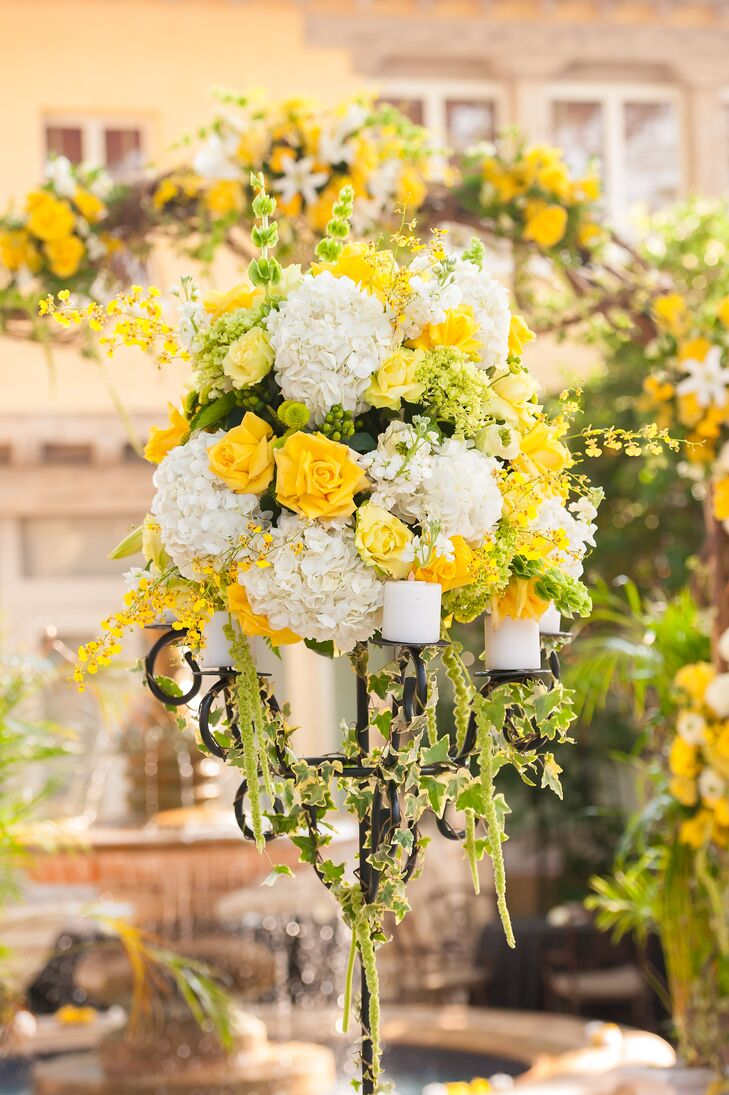 White Hydrangea And Yellow Rose Aisle Decor