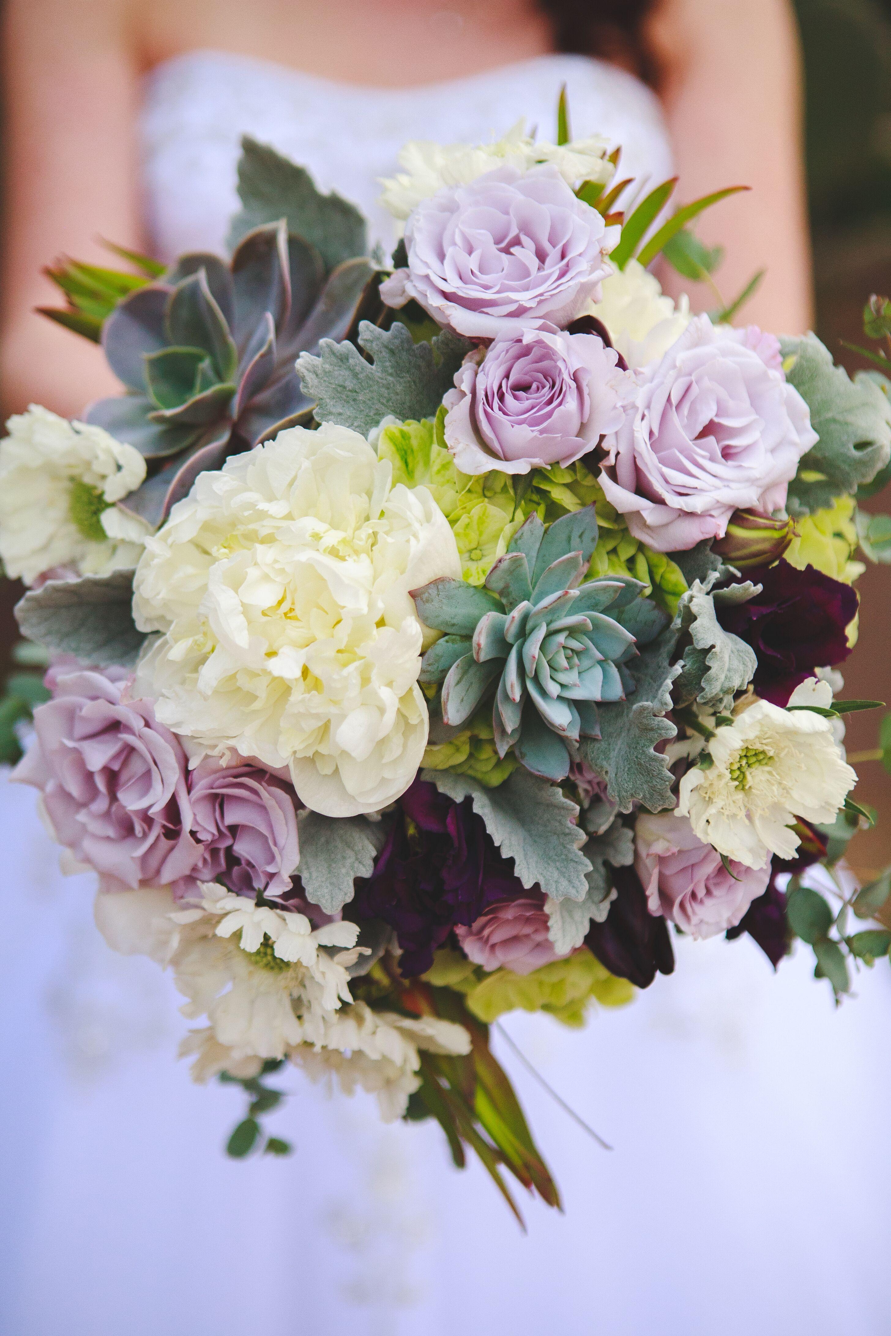 Purple And Green Succulent Bridal Bouquet