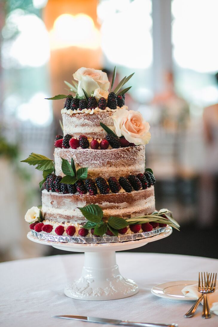 Rustic Naked Wedding Cake With Fresh Fruit - Fresh Fruit Wedding Cake