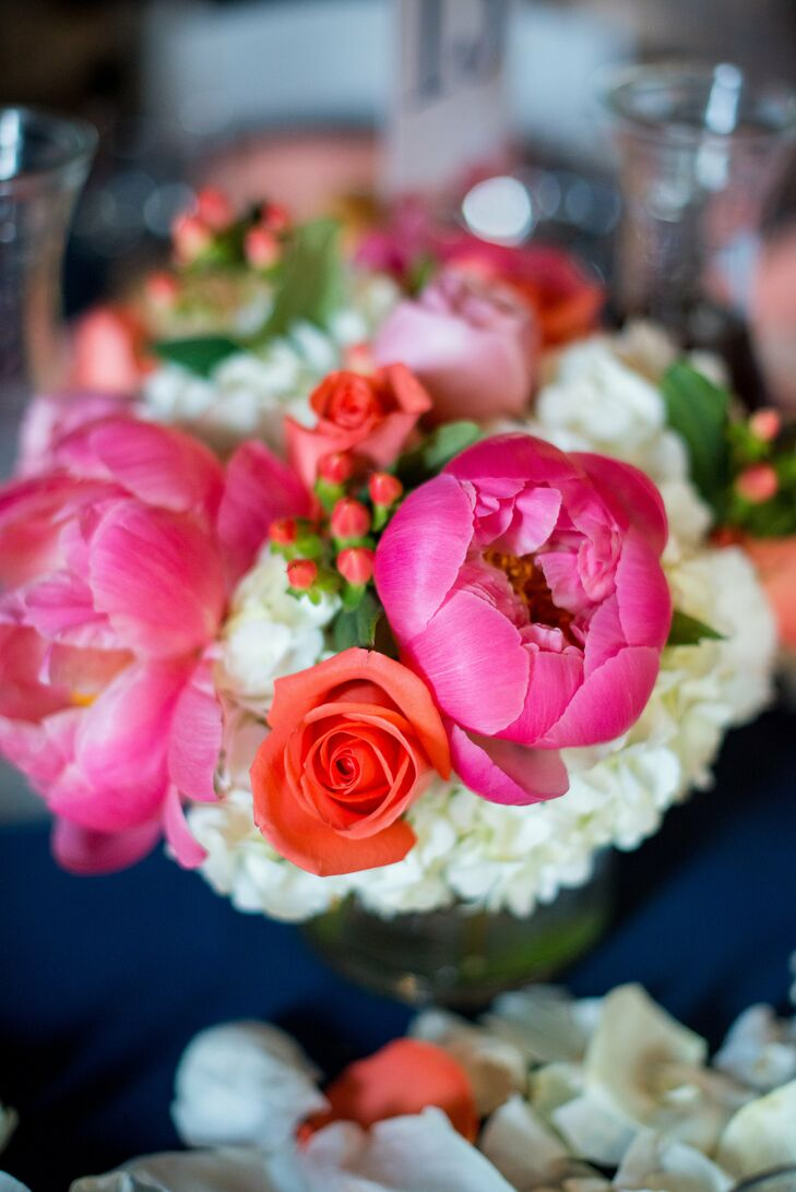 Pink Peony and Red Rose Table Centerpiece