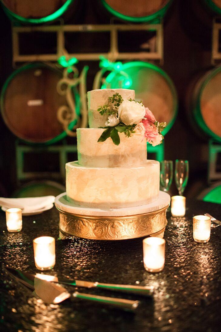 Buttercream Wedding Cake With Flower Garnish