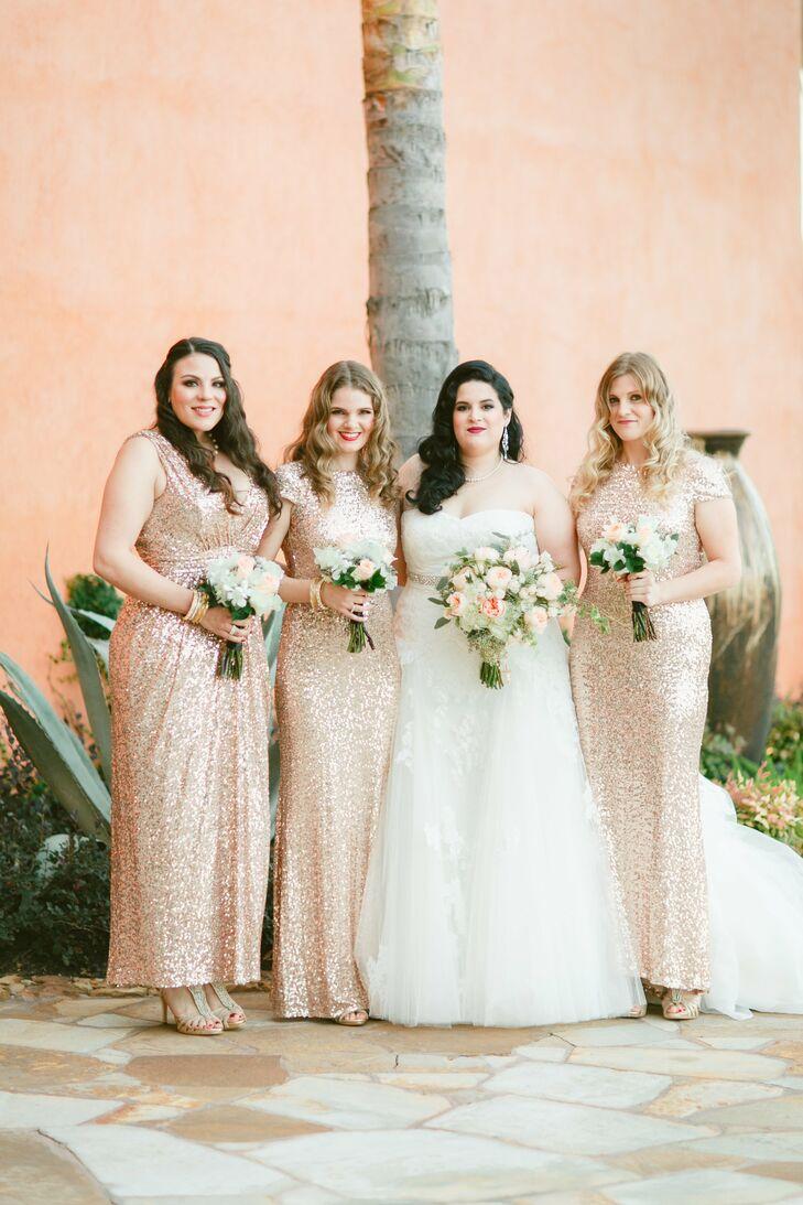 Peach gold glittery bridesmaid dresses ombrellifo Image collections