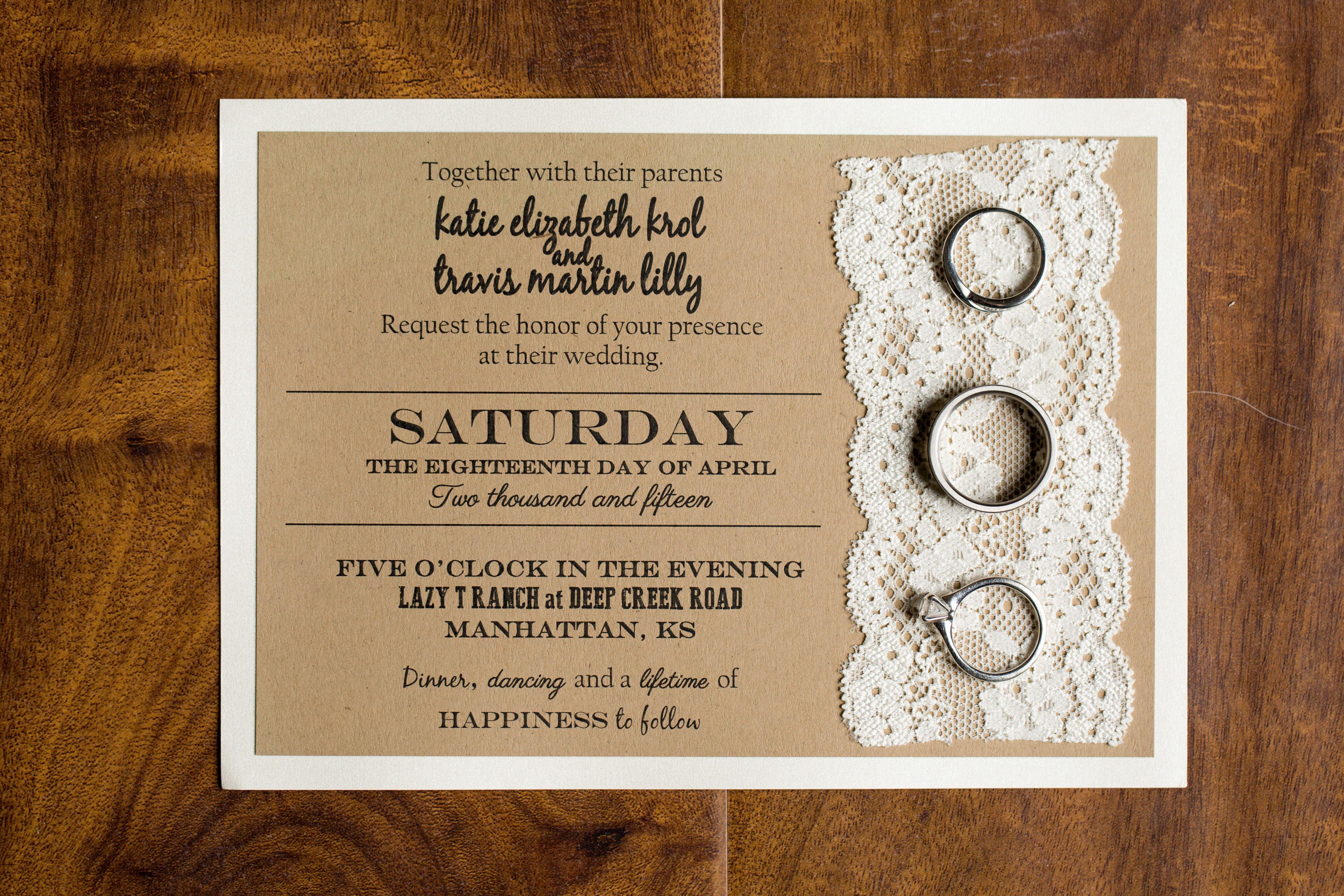 Diy Kraft Paper Wedding Invitations: DIY Laser-Printed Lace And Kraft Paper Invitations