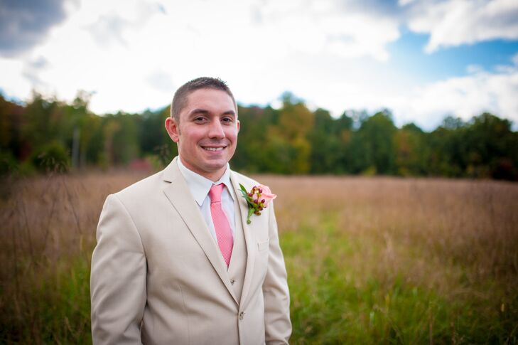 Khaki Wedding Suit With Coral Tie