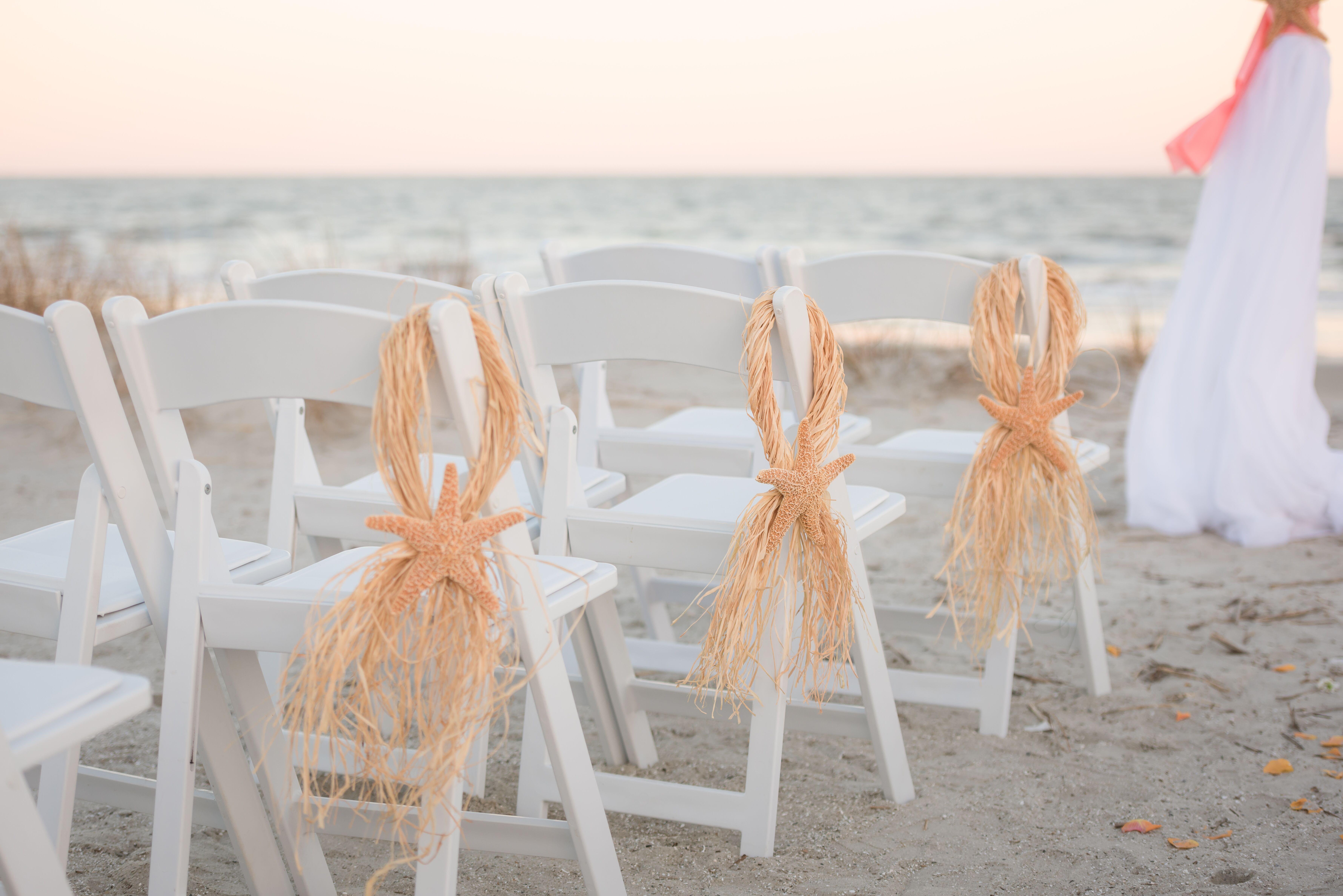 White Beach Wedding Chairs with Starfish