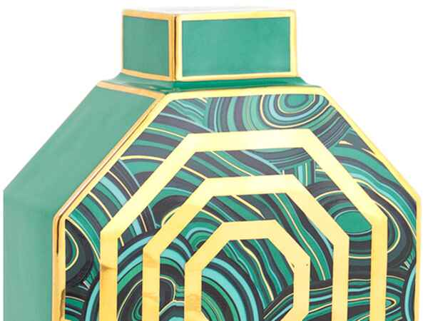 Go green at home with malachite-printed accents.
