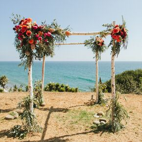 Birch Wedding Arch With Bright Floral Clusters