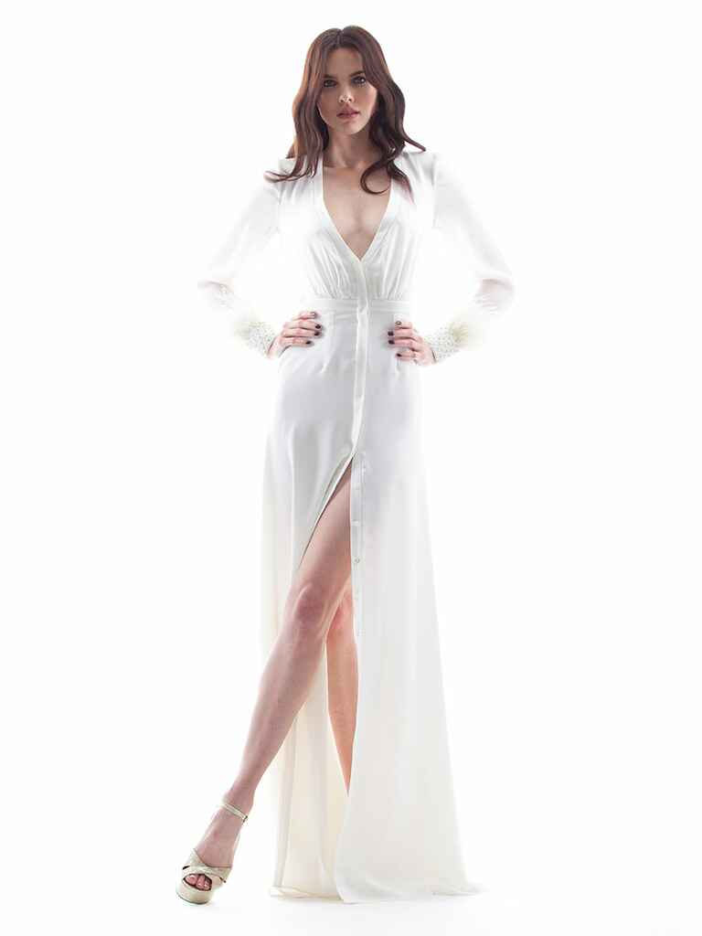 Houghton Spring/Summer 2018 sheer long sleeve button down wedding dress with beaded cuffs and plunging V-neck