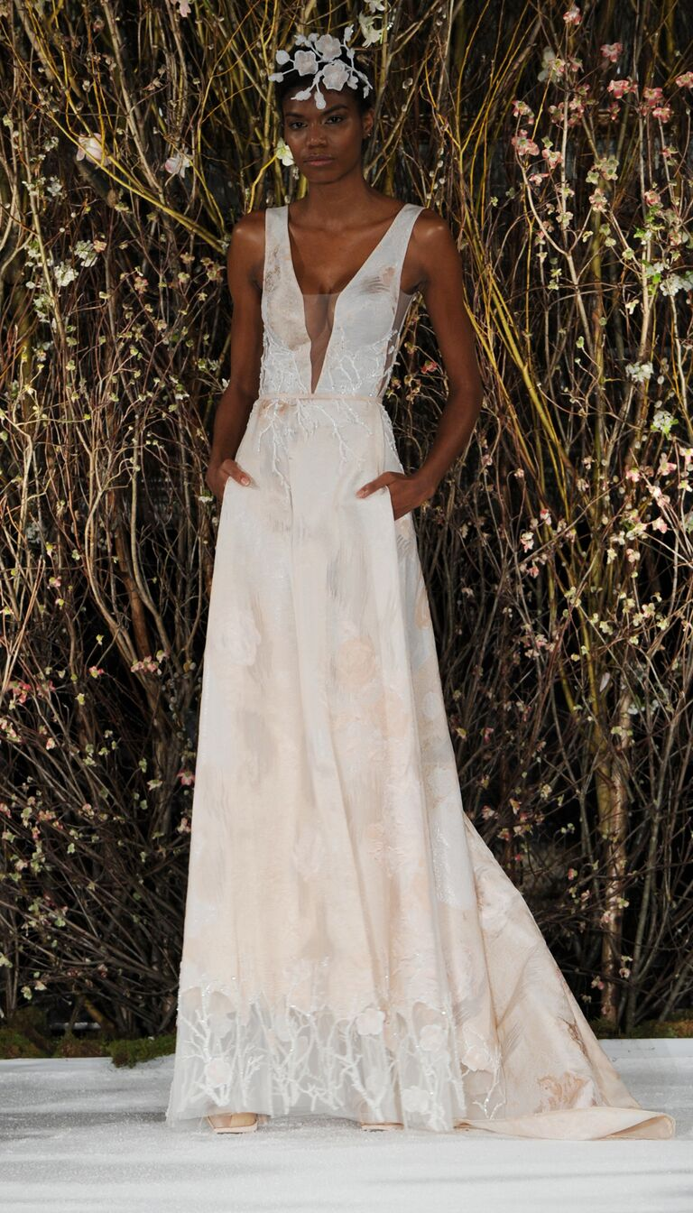Mira Zwillinger Spring 2017 Sleeveless Wedding Dress With Blush Floral Detail And Plunging Illusion Neckline
