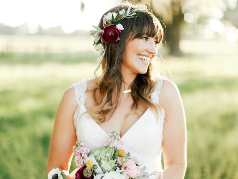 Ranunculus flower crown on boho bride