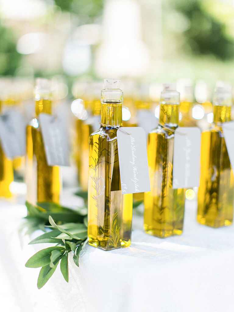 Rustic wedding favor idea with rosemary olive oil