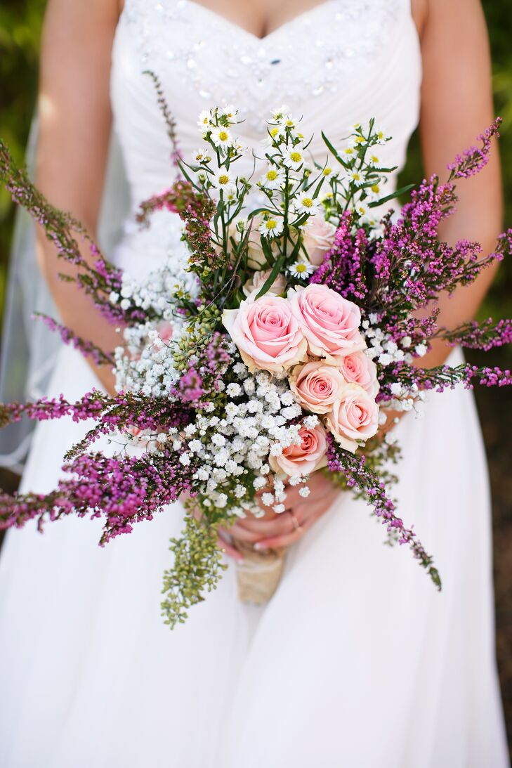 Pink Rose And Baby S Breath Bridal Bouquet