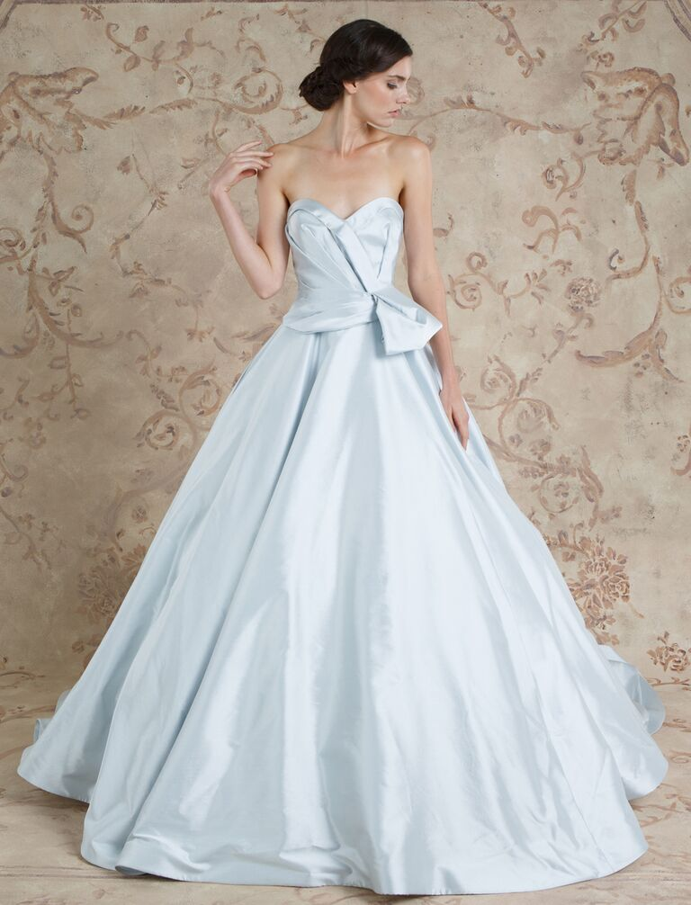 Sareh Nouri Fall 2016 Soft Blue Silver Ball Gown Wedding Dress With Ruched Bodice And Sweetheart