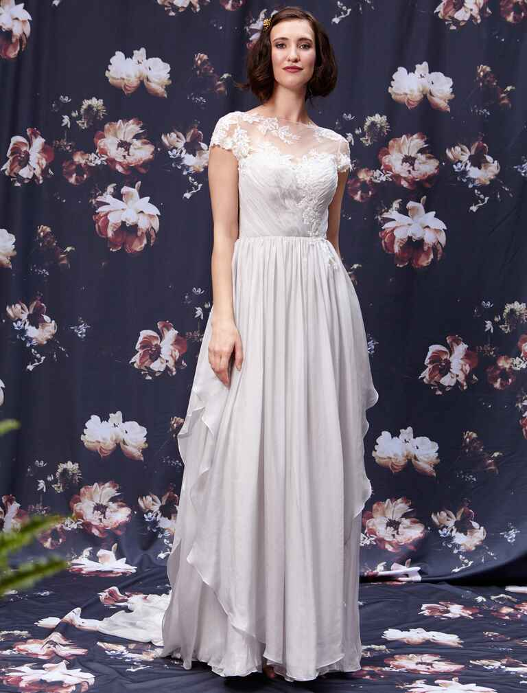Fall 2016 Ivy & Aster cap sleeve wedding dress net bodice with silver appliqué and cascading chiffon skirt