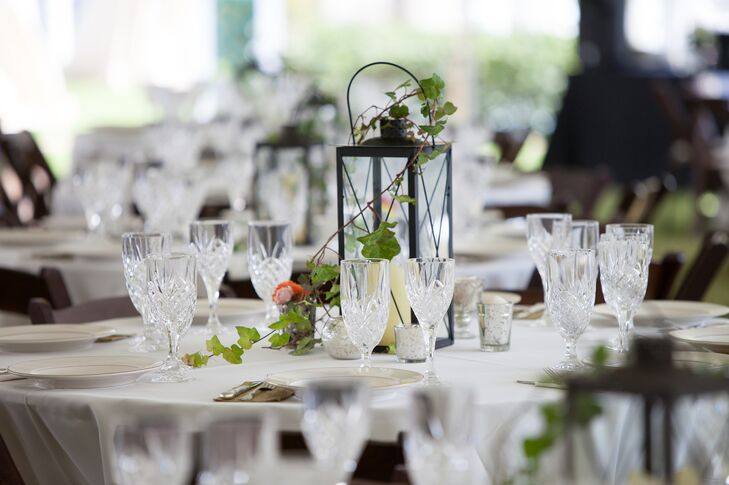 Black lantern and ivy centerpieces