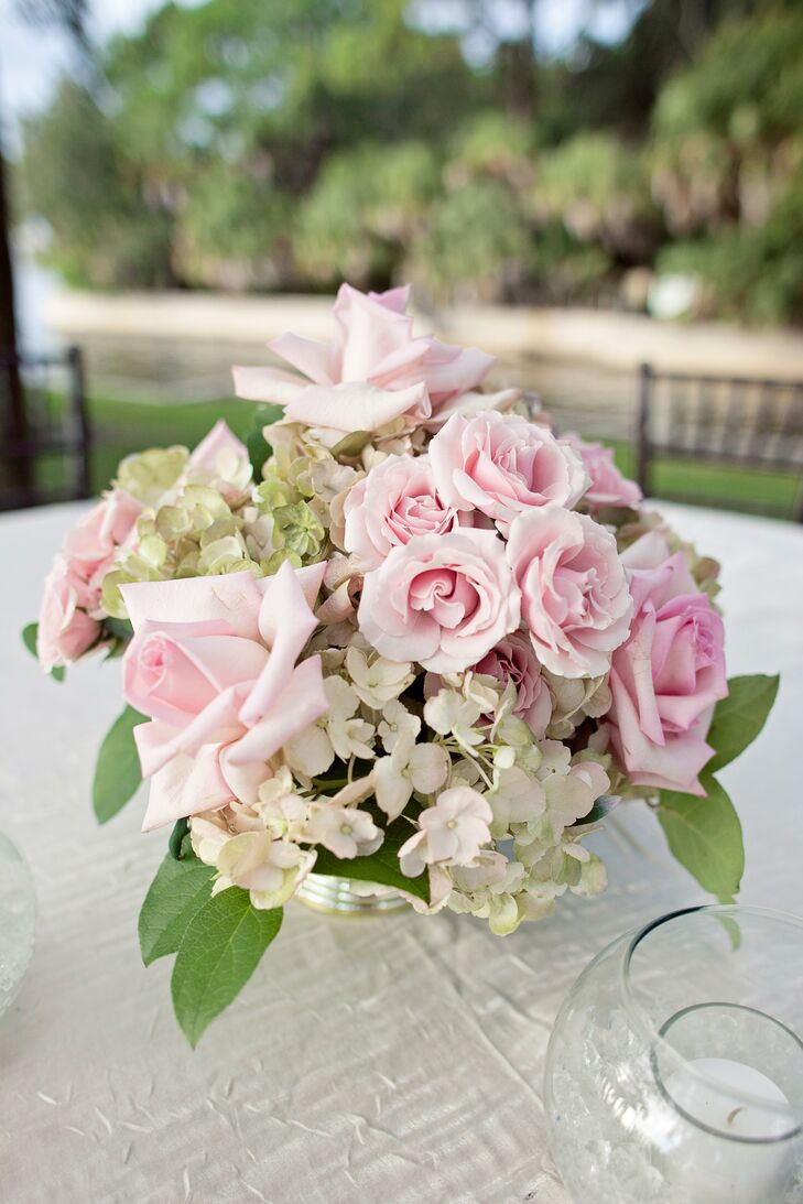 Low pink rose and white hydrangea centerpiece