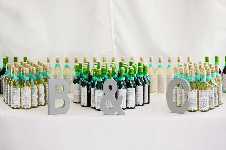 wine bottle favors for guests