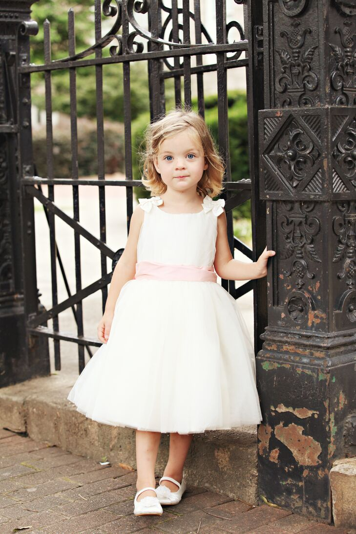 White flower girl dress with pale pink sash mightylinksfo