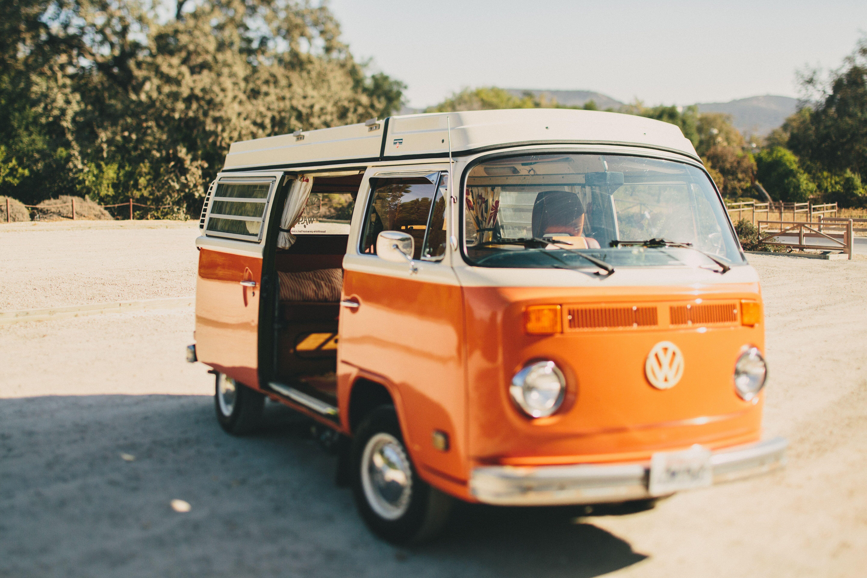 bright orange vintage volkswagen bus. Black Bedroom Furniture Sets. Home Design Ideas