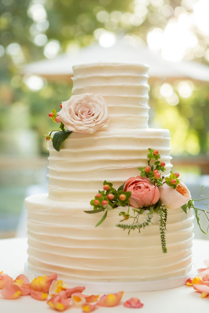 Classic, Simple Rough-Frosted Wedding Cake