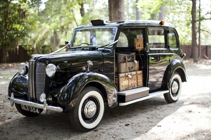 The couple rode from the ceremony to the reception in this vintage car.