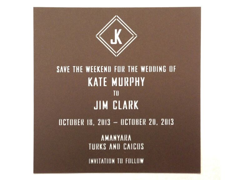 Monogram save-the-date from Alpine Creative Group
