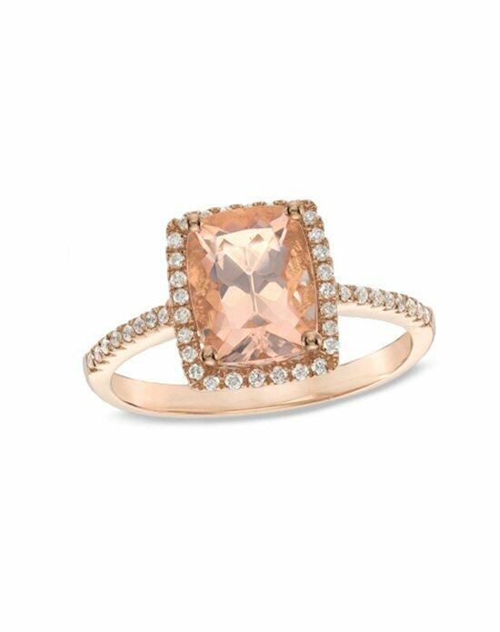 Zales Fine Jewelry Cushion-Cut Morganite and 1/6 CT. T.W. Diamond Ring in 10K Rose Gold Wedding Rings photo