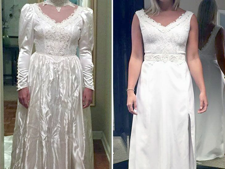 80s Wedding Dress.Bride Updated Mom S Wedding Dress From 80s And Surprised Her