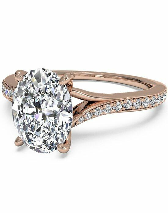 Ritani Oval Cut Modern Bypass Micropave Diamond Band Engagement Ring in 18kt Rose Gold (0.19 CTW) Engagement Ring photo