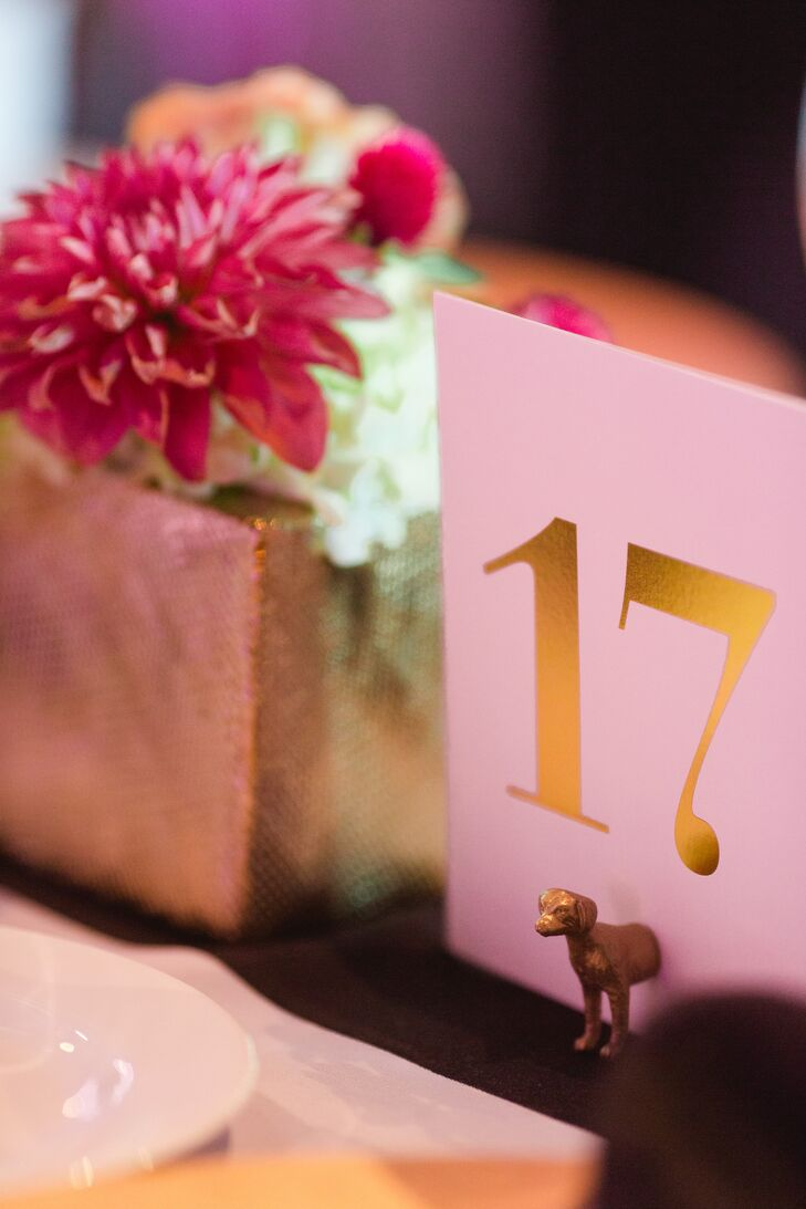 White Table Number with Gold Text