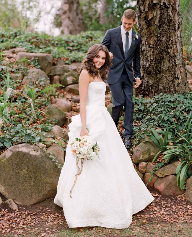 Monique Lhuillier wedding gown and Lanvin suit | Jose Villa | blog.theknot.com