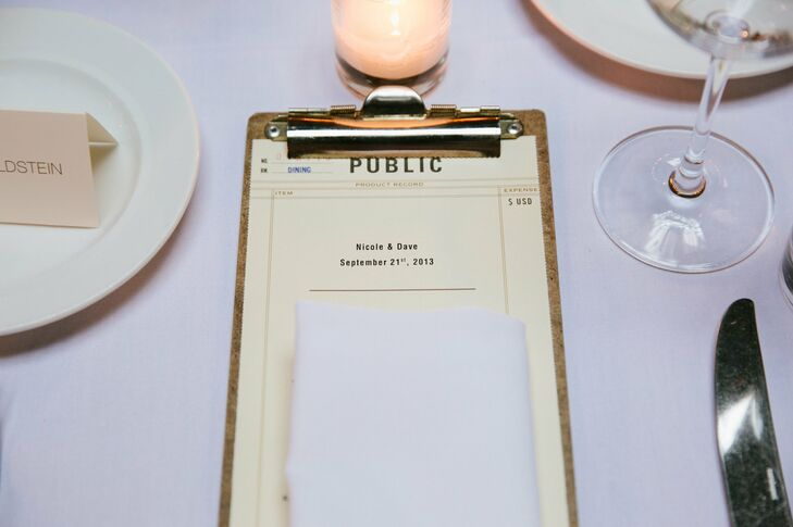 The couple's menu cards were inspired by old library check out cards.
