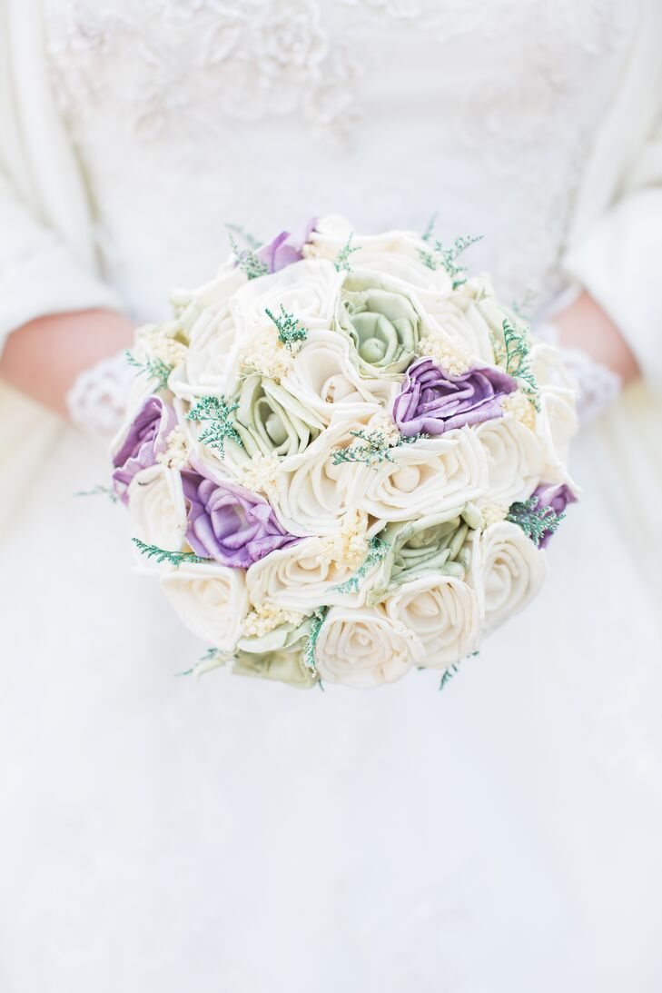 Purple And White Sola Flower Bouquet