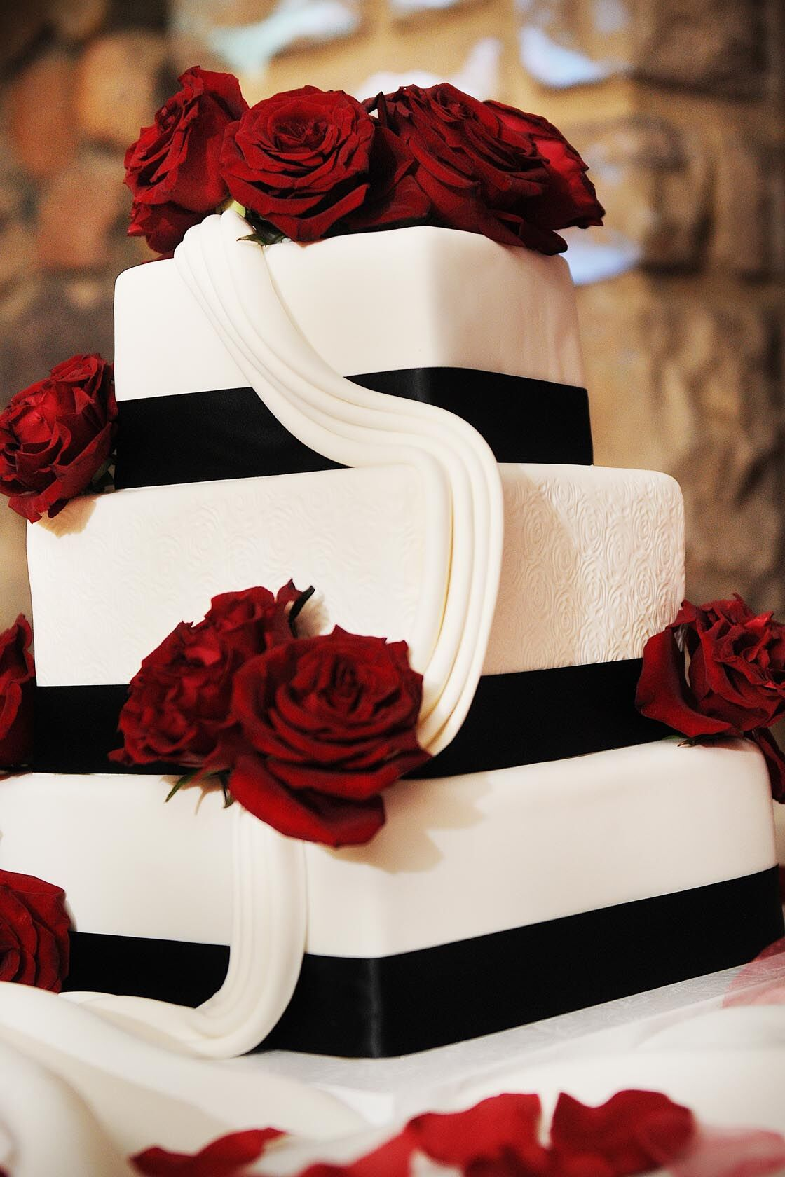 Elegant White Butter Cream Wedding Cake with Black Ribbon ...   Affordable Wedding Cakes Black And Red