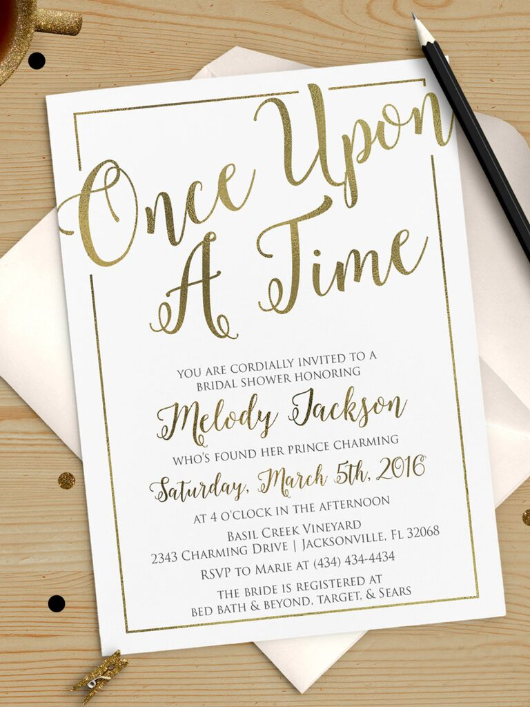 Once Upon A Time Bridal Shower Invitation Printable DIY Throughout Printable Bridal Shower Invites