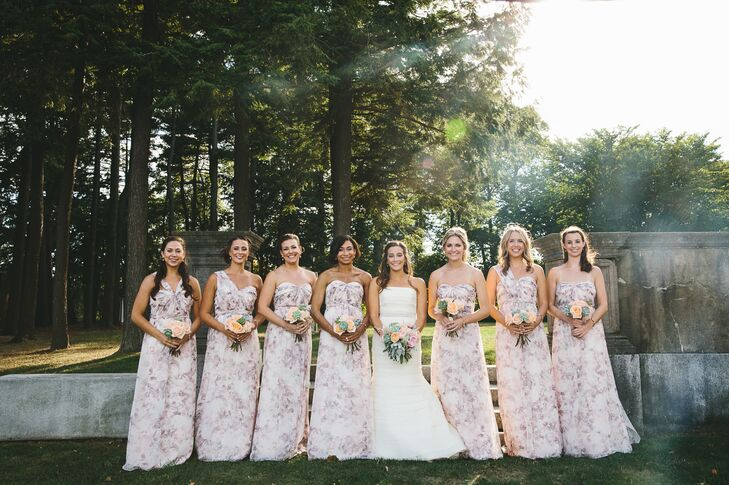 Jordan's bridesmaid dresses were a subtle floral pattern. Their necklines differed based on the bridesmaid's preference.