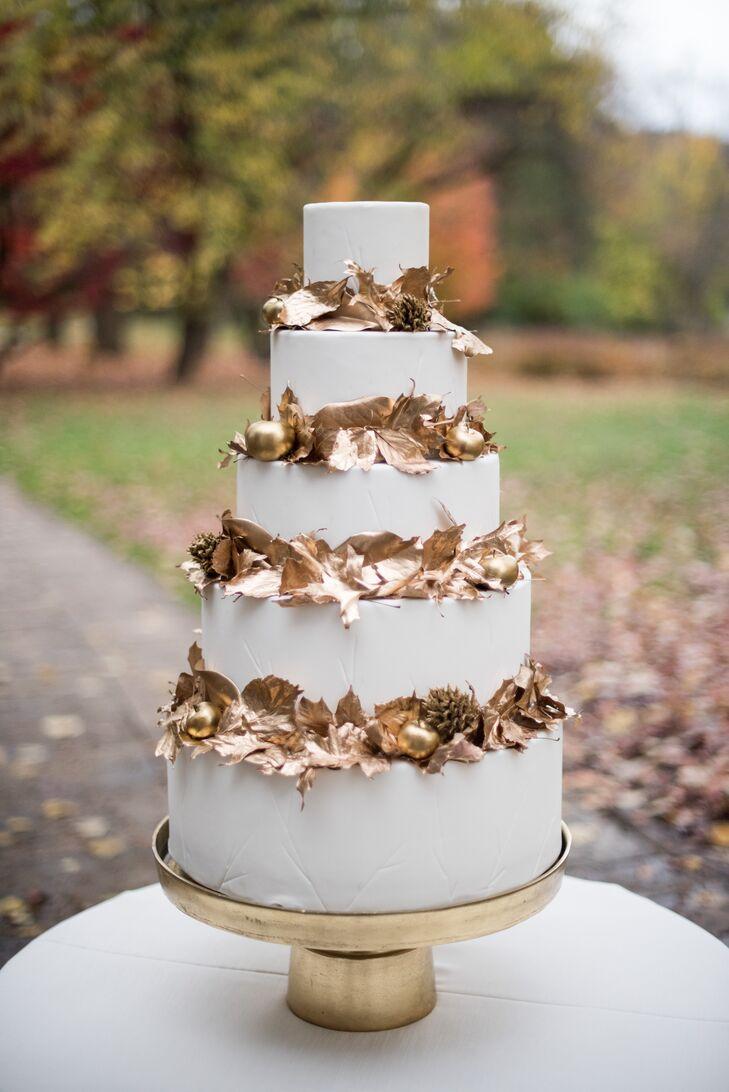 Autumnal Gold Leaf Wedding Cake
