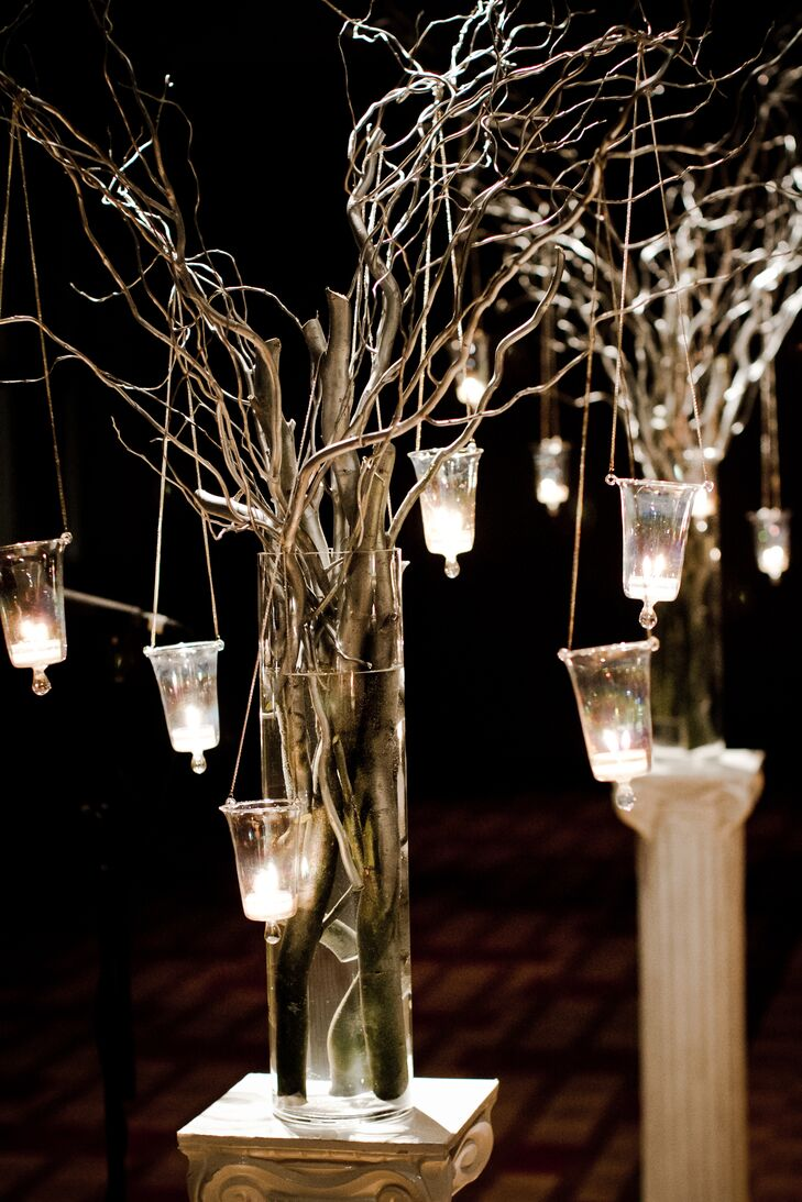 Branch centerpiece hanging votives