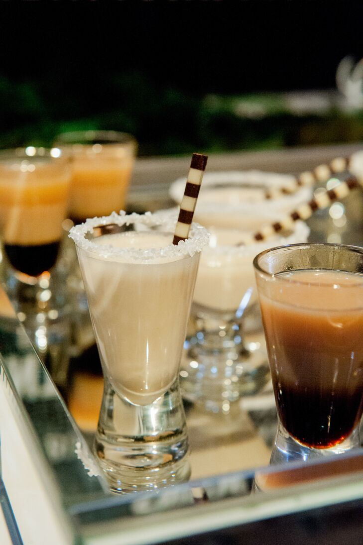 Spiked Milkshake Shooters at Christmas-Themed Wedding