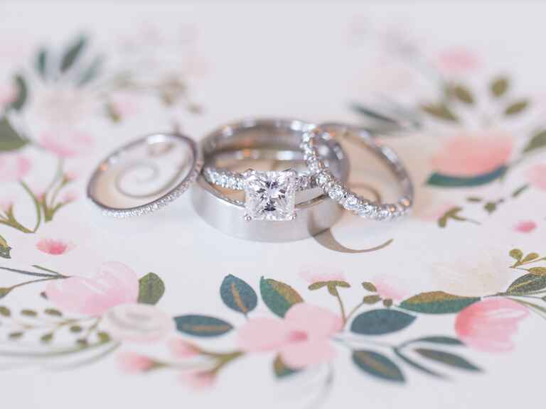 Engagement rings and wedding ring