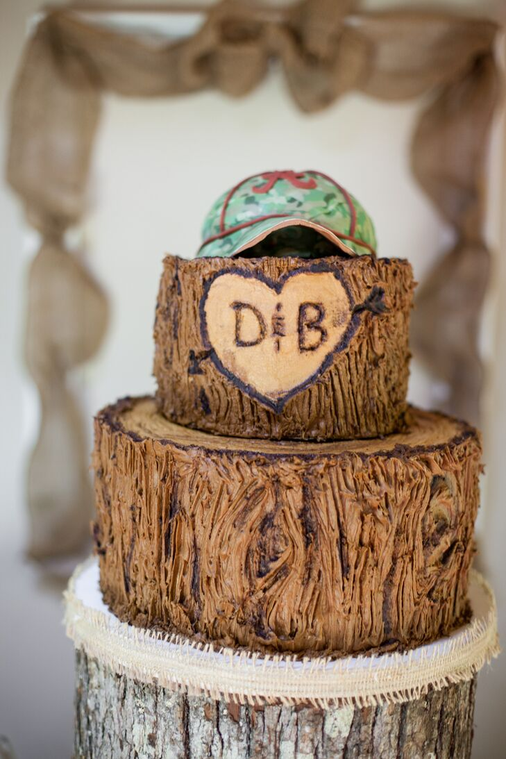 Stacked Tree Stump Wedding Cake