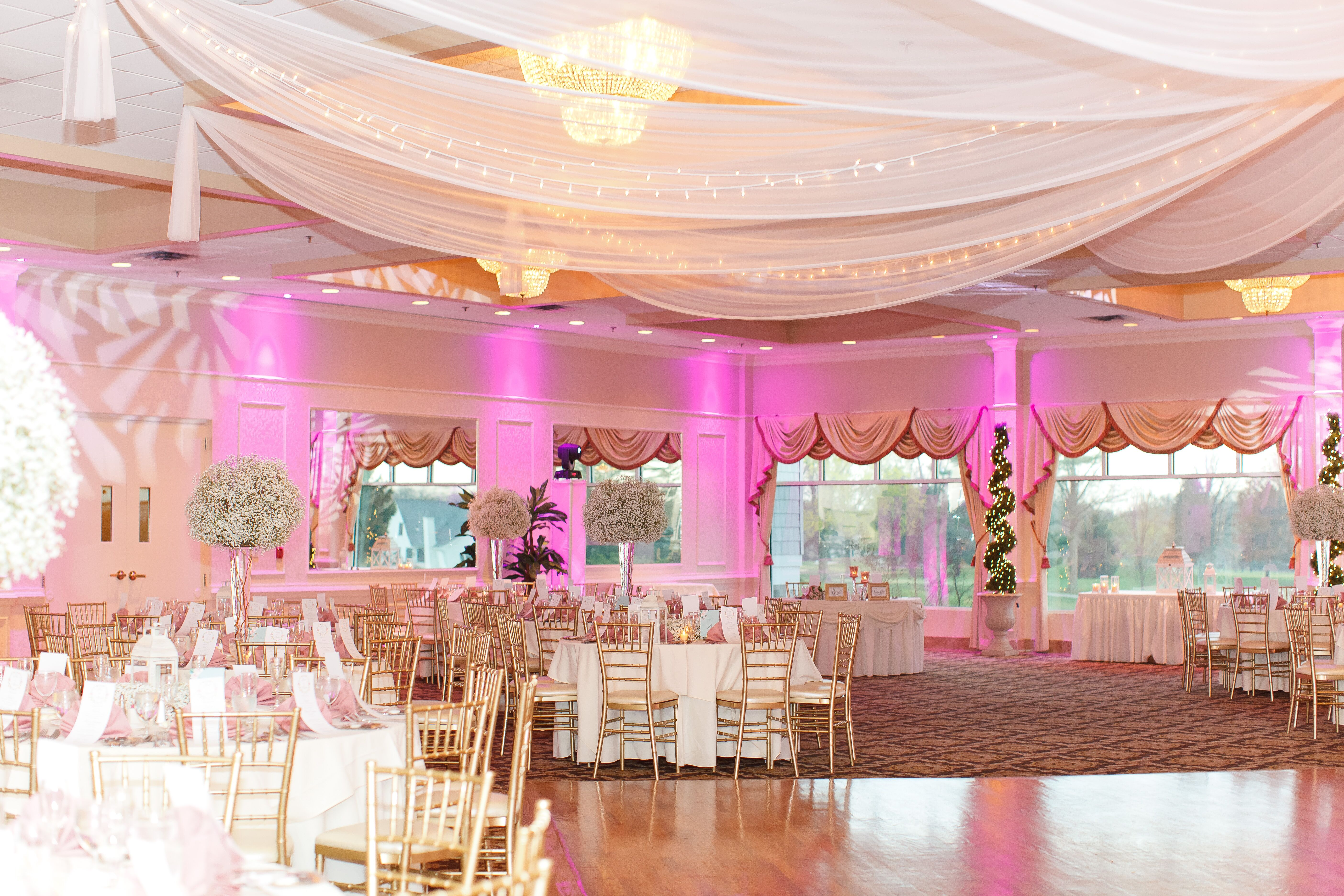 Pink Reception with White Drapery at Battleground Country Club