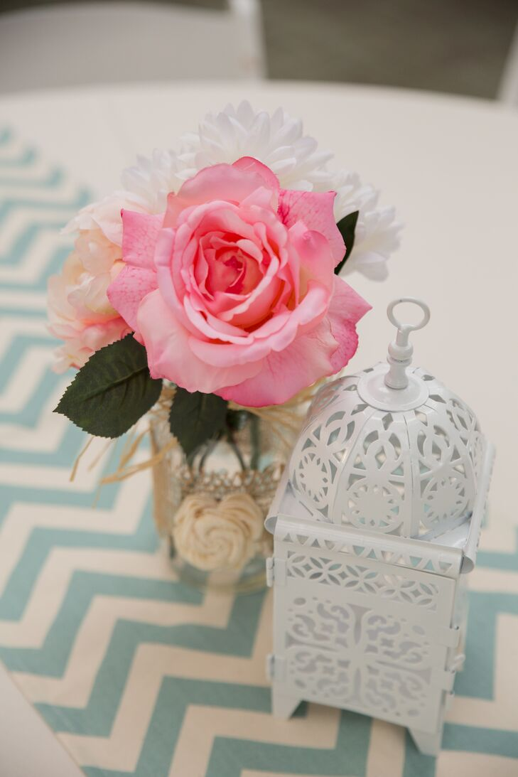 White Lantern and Pink Rose Centerpieces