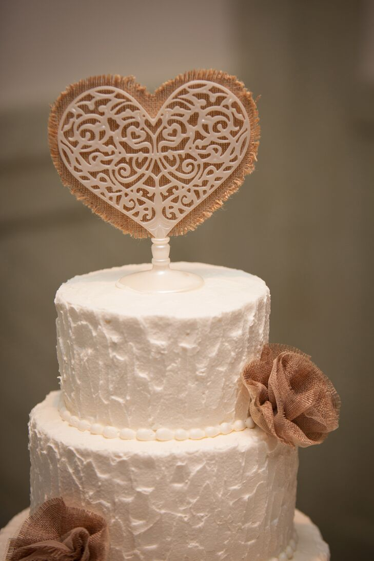 White Wire and Burlap Heart Cake Topper