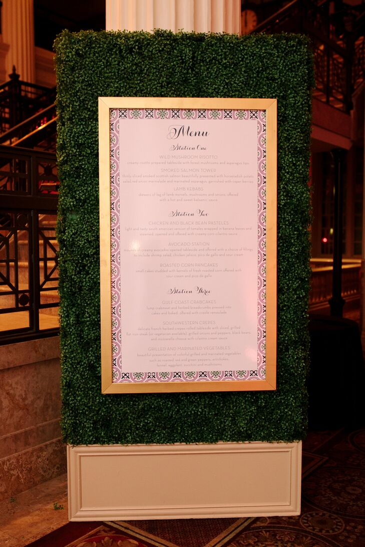 Green and Gold Hedge Menu Display