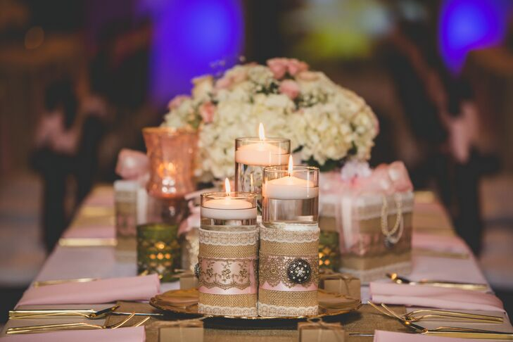 Burlap And Lace Wrapped Floating Candles