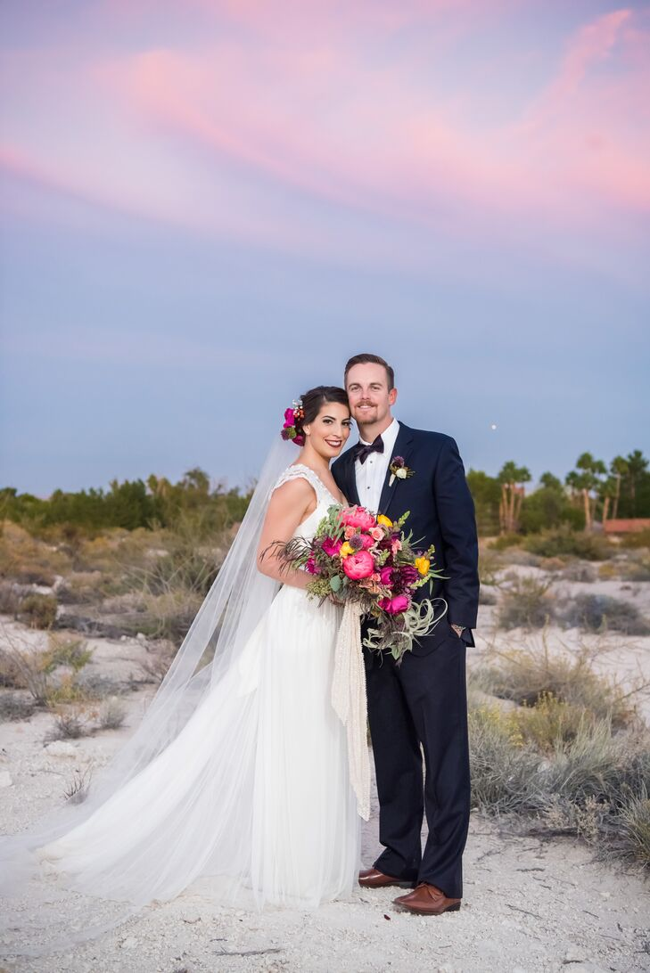 rn                    For their fall wedding, Las Vegas locals Jenna Hyams (27 and in advertising) and Brett Lusk (27 and in insurance) wanted to cele